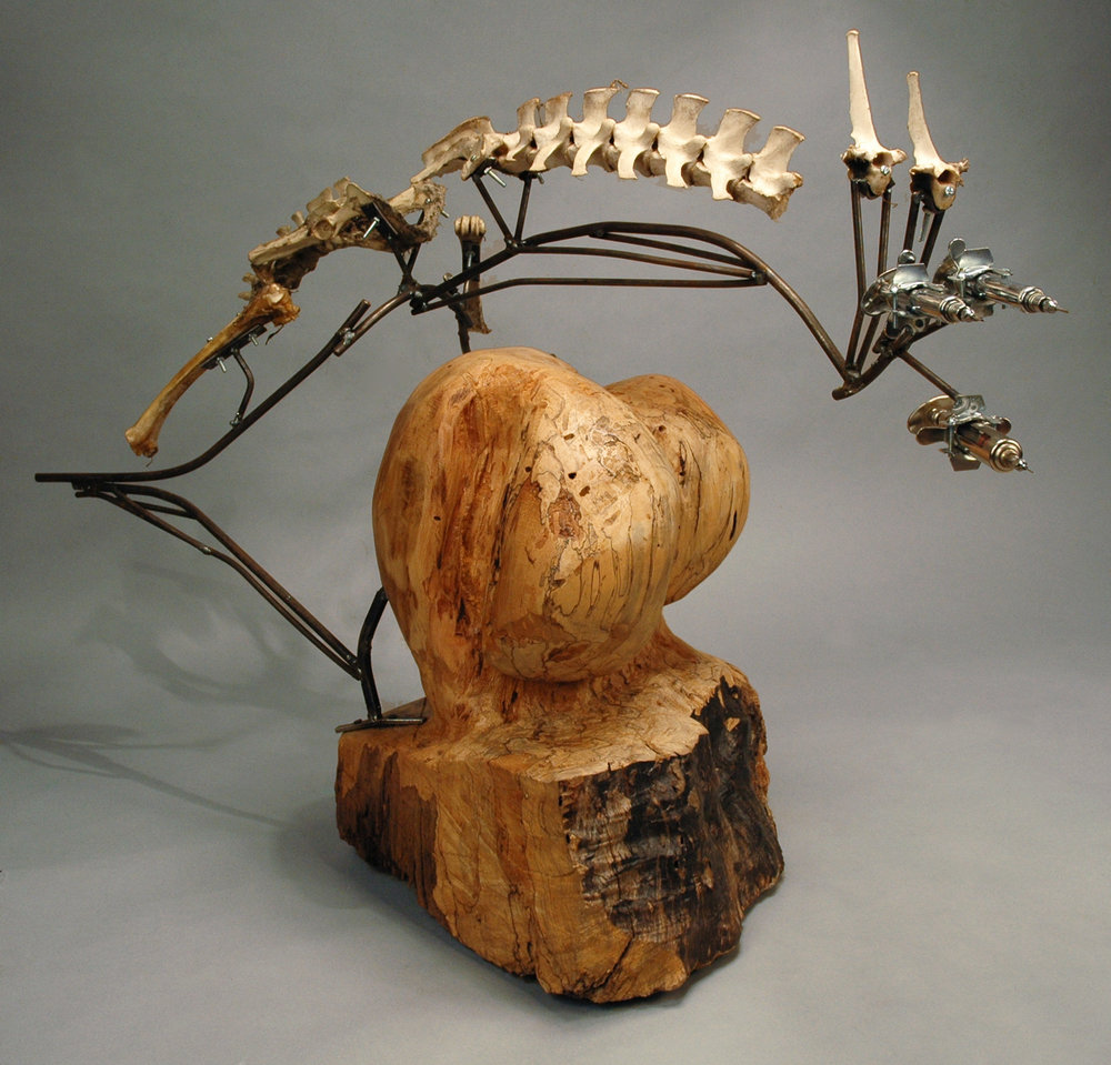 "14.        Assignment: Mixed Media Sculpture              Media: Wood, steel, bone                         Dimensions: 36""h x 38""w x 20""d"