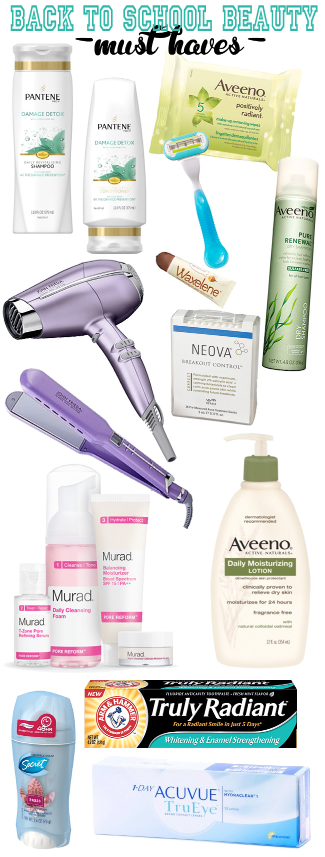 The top beauty + personal care items your college student needs to take back to school with them.