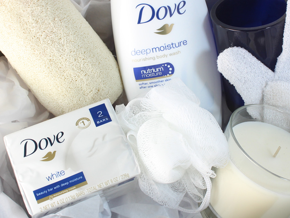 DIY Spa in a Basket with Dove Nourishing Body Products