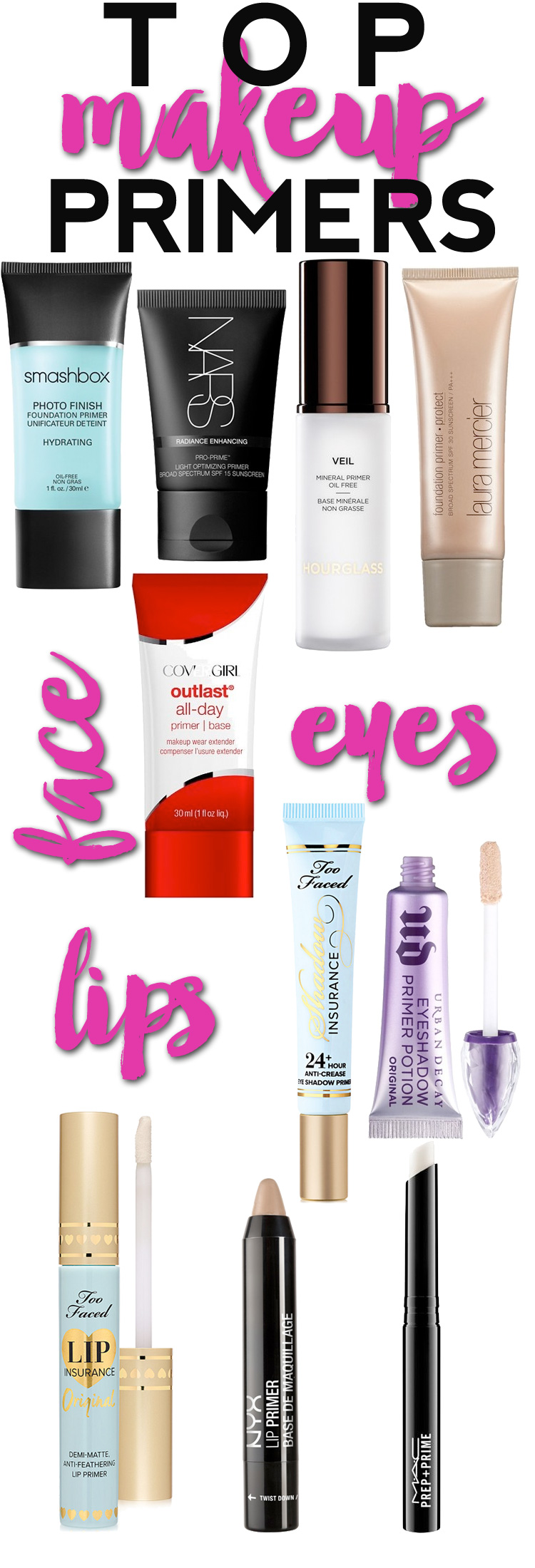 Top Makeup Primers — The best makeup primers for your face, lips and eyes.