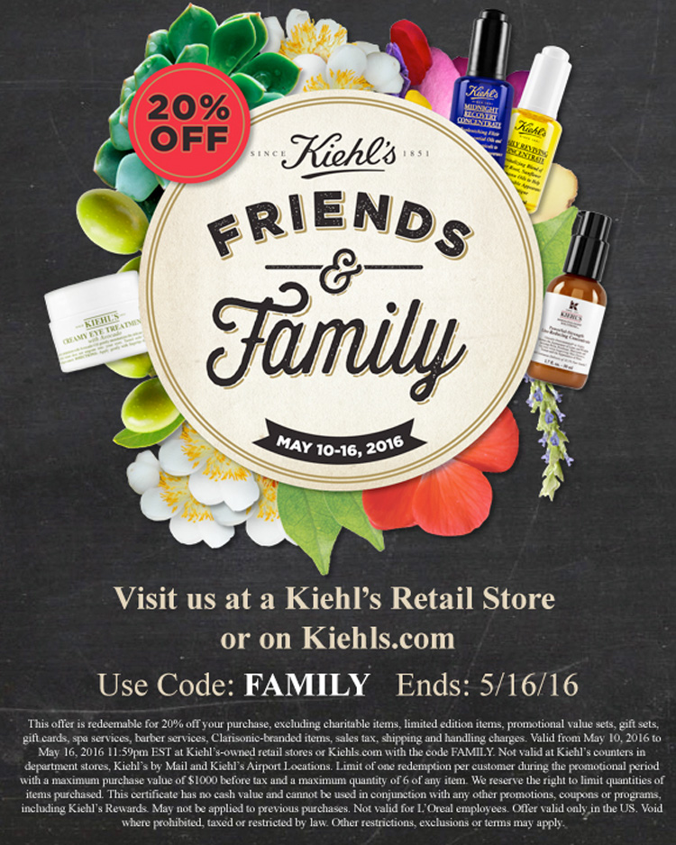 Kiehl's Friends & Family 2016