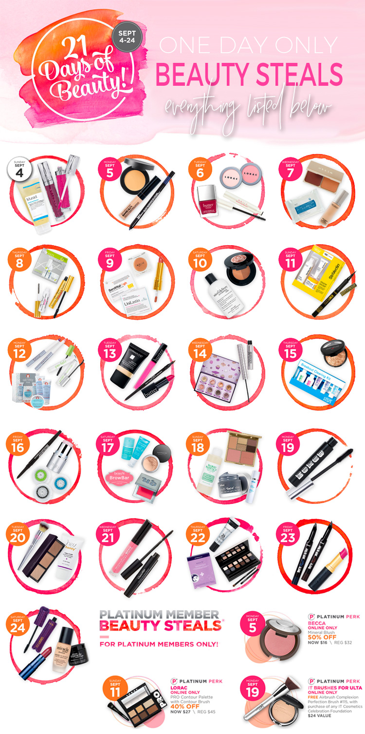 Ulta 21 Days of Beauty 2016 - Calendar of Beauty Steals