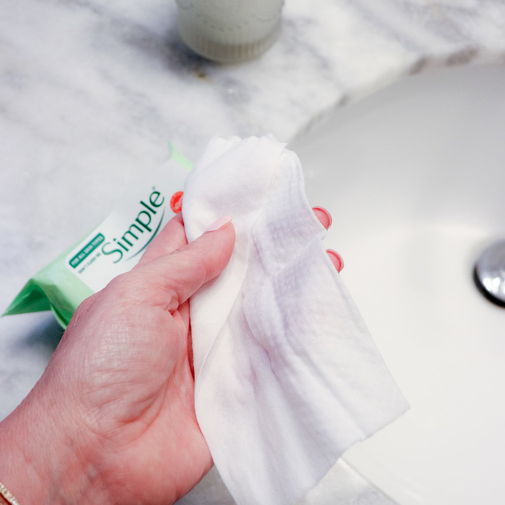 Simple Cleansing Wipes in Hand