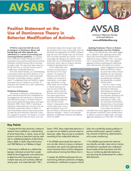 AVSAB Position Statement on the Use of Dominance Theory in Behavior Modification of Animals