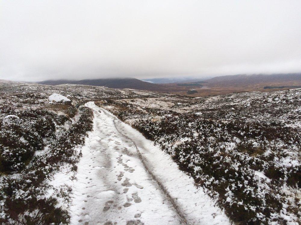 snowy path through a mountain plain