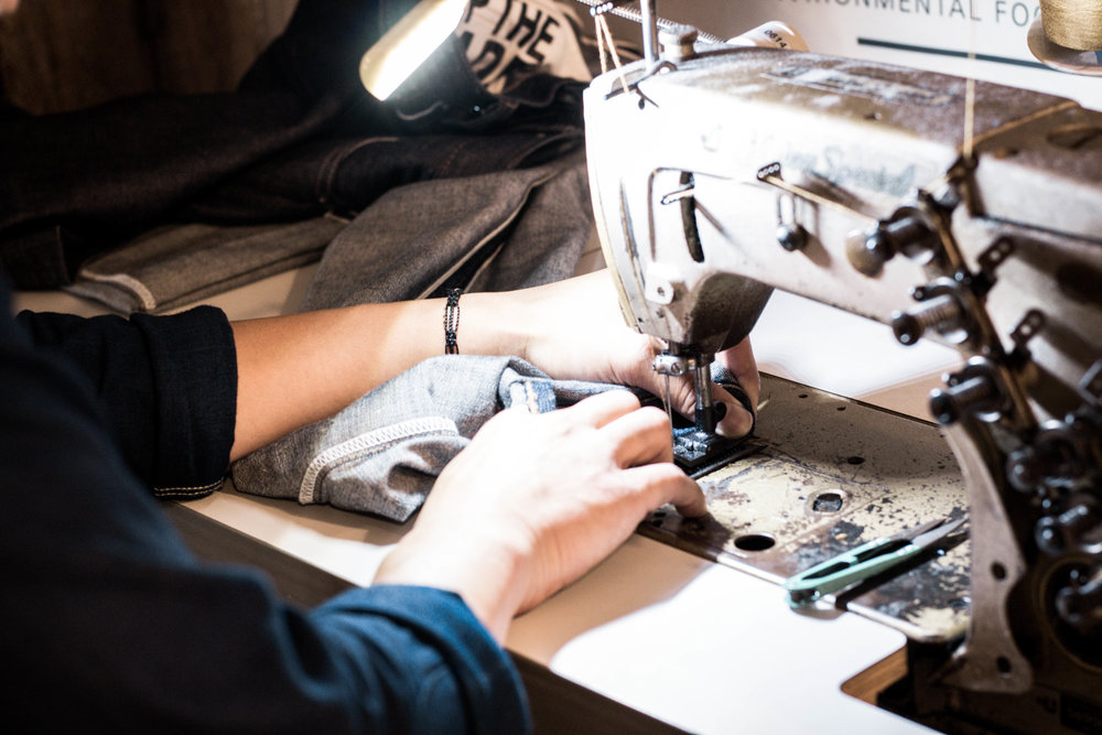 hemming jeans and denim with sewing machine