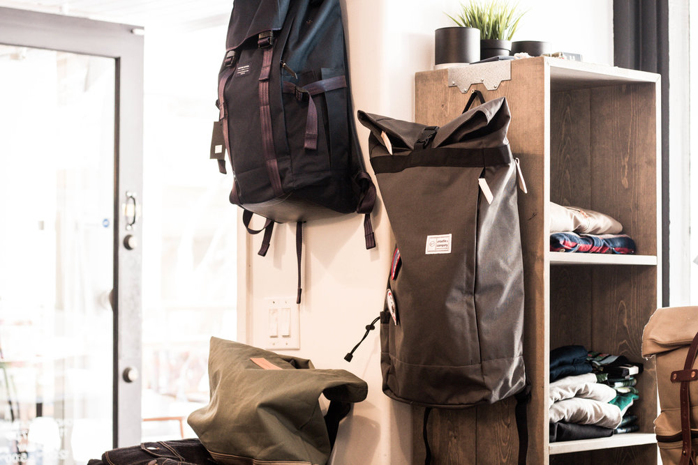 The Slate Gray Commuter Roll Top Backpack displayed at Lone Flag
