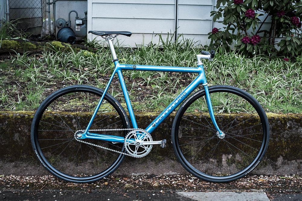 teal blue 1993 cannondale track bike