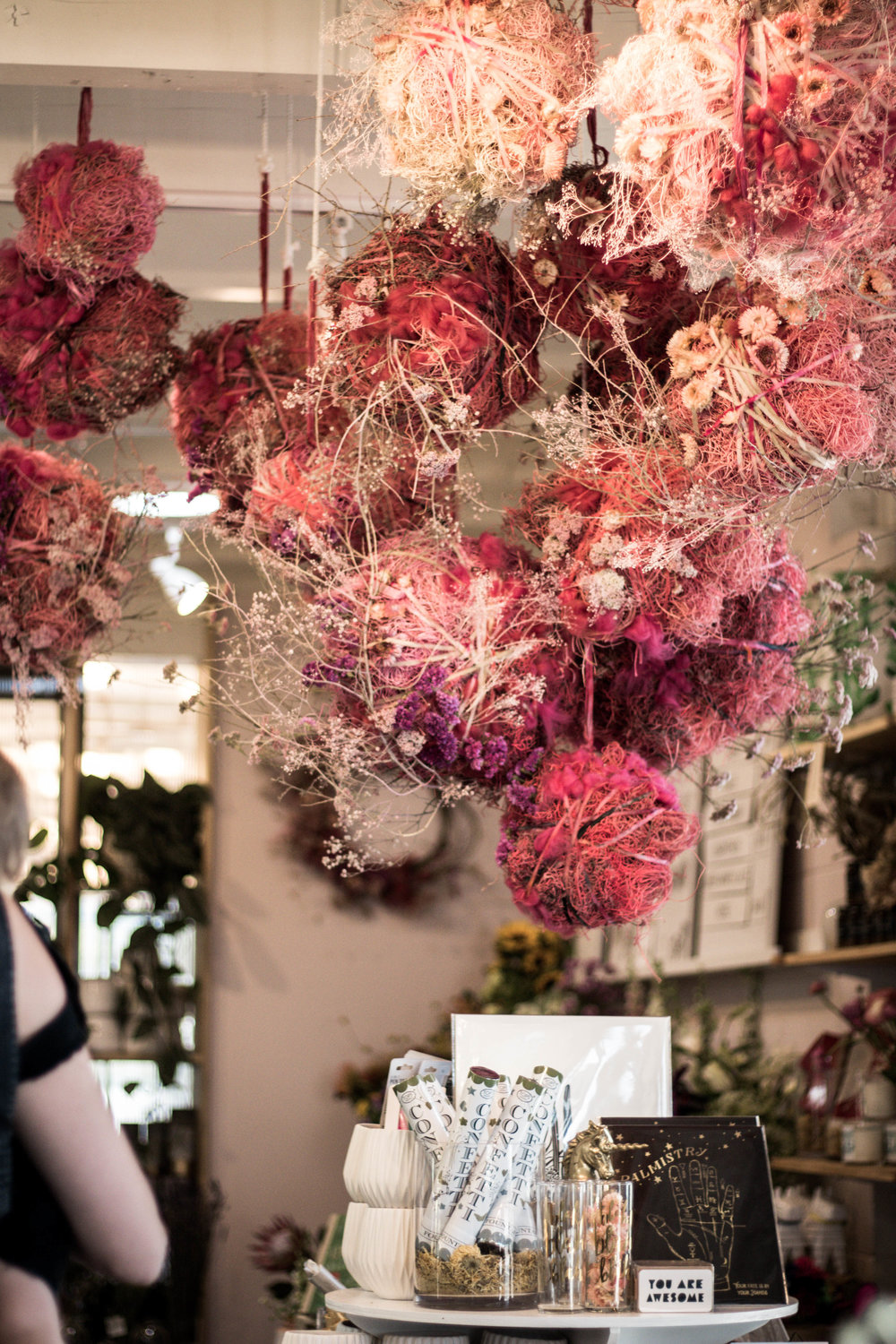 floral decor at communal coffee and native poppy