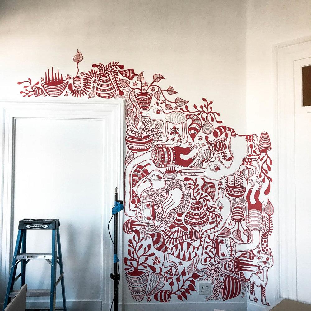 bret brown art mural in process