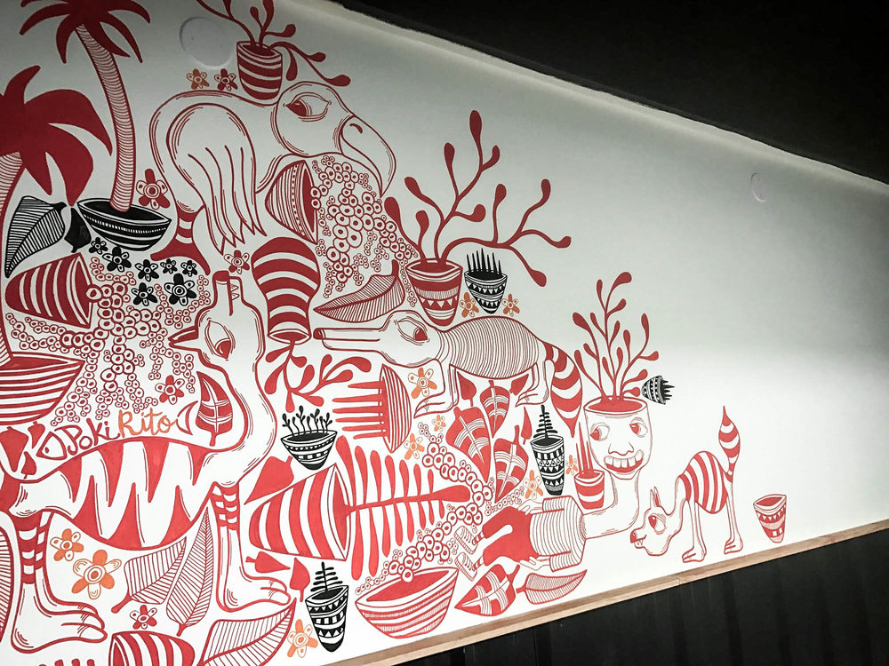 finished public mural by the artist bret brown