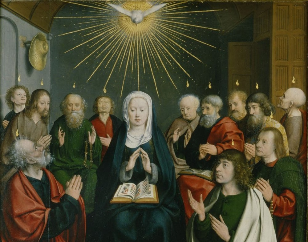 """When the day of Pentecost had come, they were all together in one place. And suddenly a sound came from heaven like the rush of a mighty wind, and it filled all the house where they were sitting. And there appeared to them tongues as of fire, distributed and resting on each one of them. And they were all filled with the Holy Spirit and began to speak in other tongues, as the Spirit gave them utterance."" Click here for the Collect & Lessons for this Sunday (5/15)."