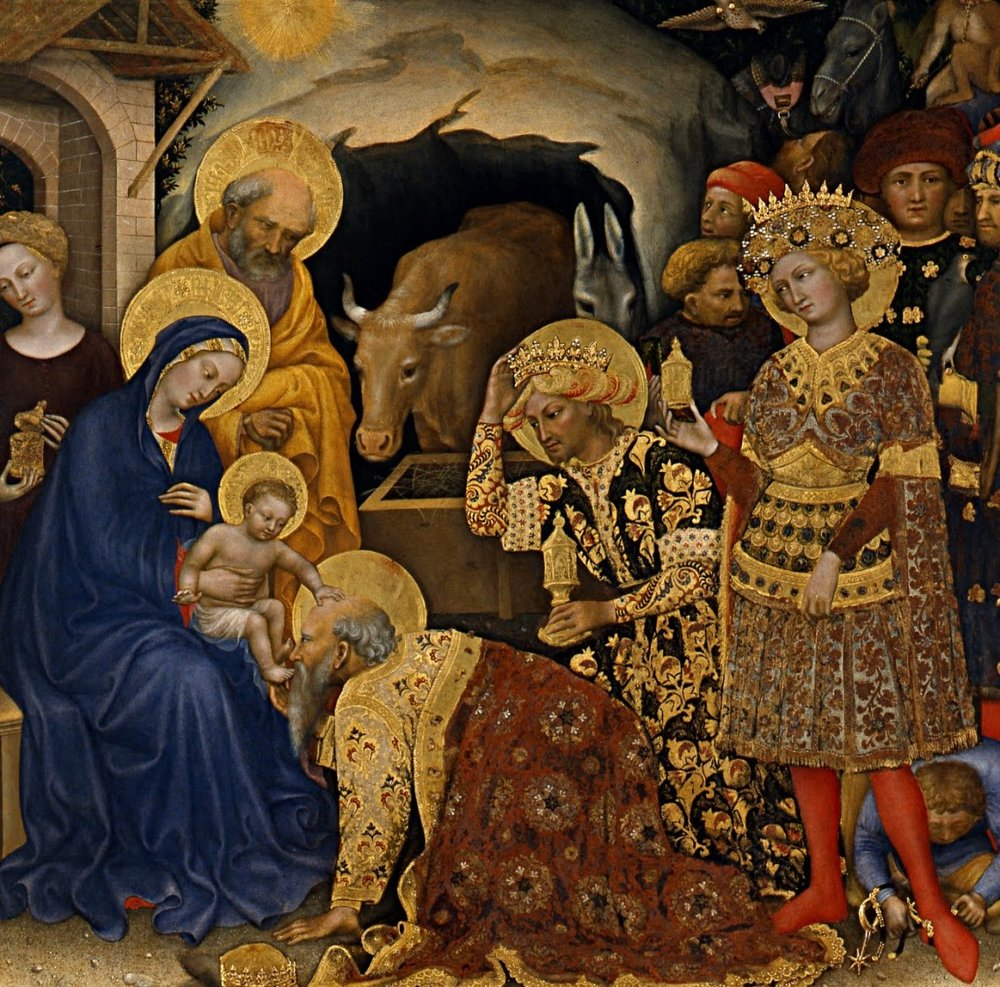 When they had heard the king they went their way; and lo, the star which they had seen in the East went before them, till it came to rest over the place where the child was.  When they saw the star, they rejoiced exceedingly with great joy; and going into the house they saw the child with Mary his mother, and they fell down and worshiped him. Then, opening their treasures, they offered him gifts, gold and frankincense and myrrh.  And being warned in a dream not to return to Herod, they departed to their own country by another way. Click here for the Collect & Lessons for this Sunday, the Epiphany of the Lord (1/8).