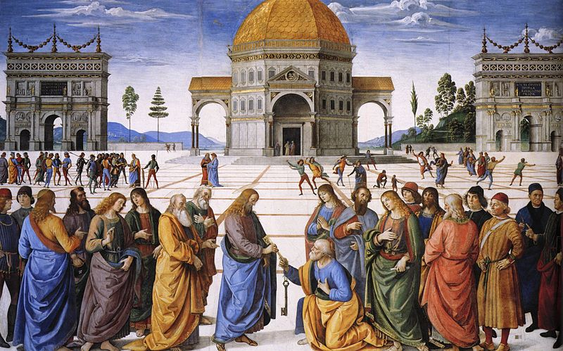 """And I tell you, you are Peter, and on this rock I will build my church, and the powers of death shall not prevail against it.  I will give you the keys of the kingdom of heaven, and whatever you bind on earth shall be bound in heaven, and whatever you loose on earth shall be loosed in heaven.""   Pietro Perugino 1481"