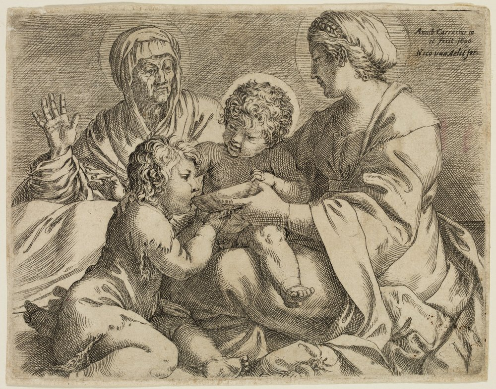 Madonna and Child with Saints Elizabeth and John the Baptist (La Madonna della Scodella), 1606, Annibale Carracci