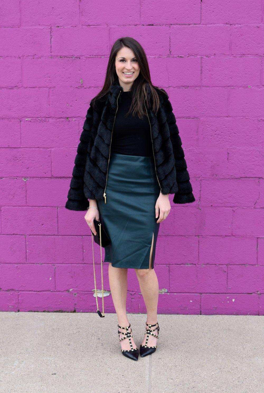 Fur jacket//Leather Skirt