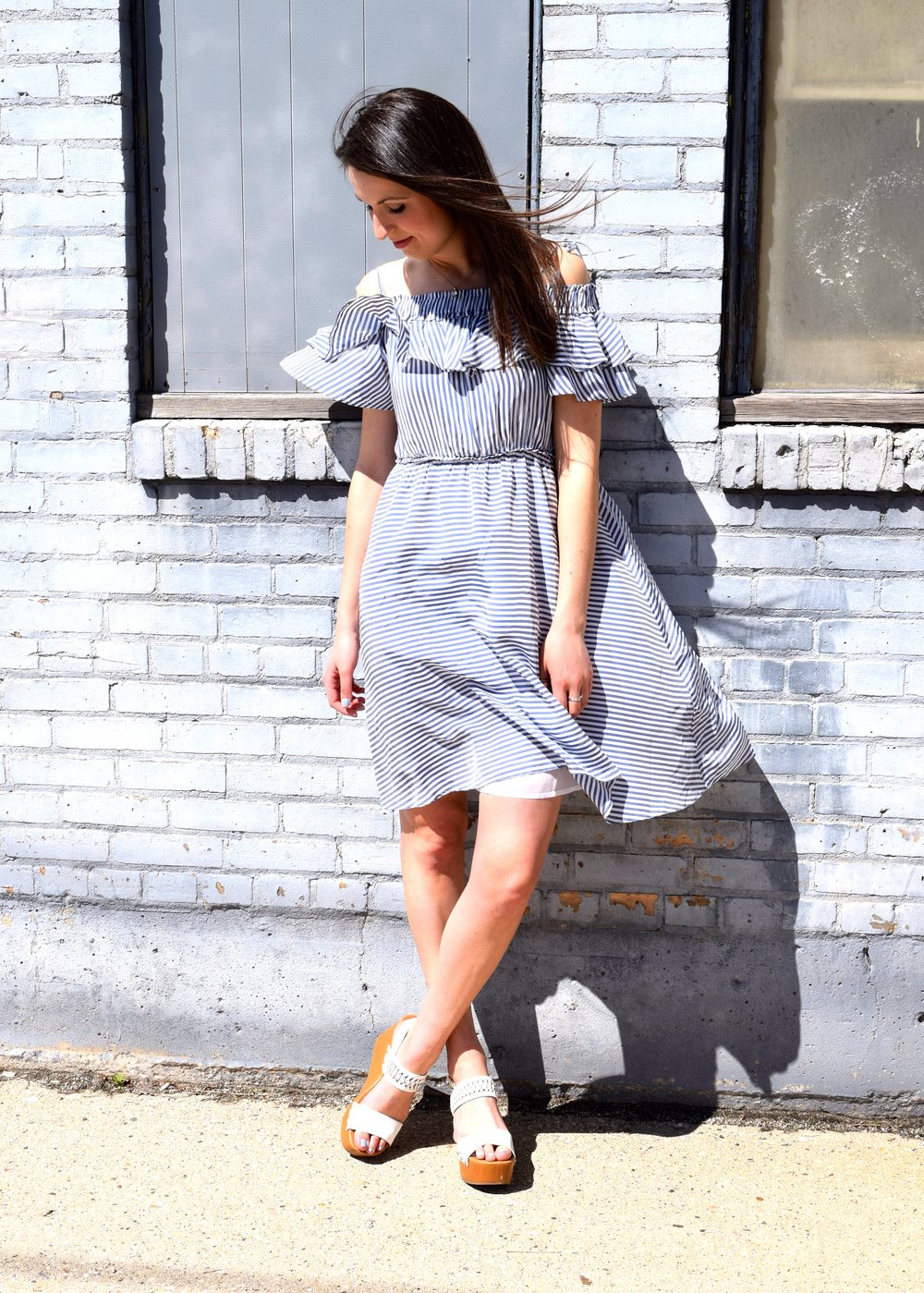 Loft Striped Ruffle Dress