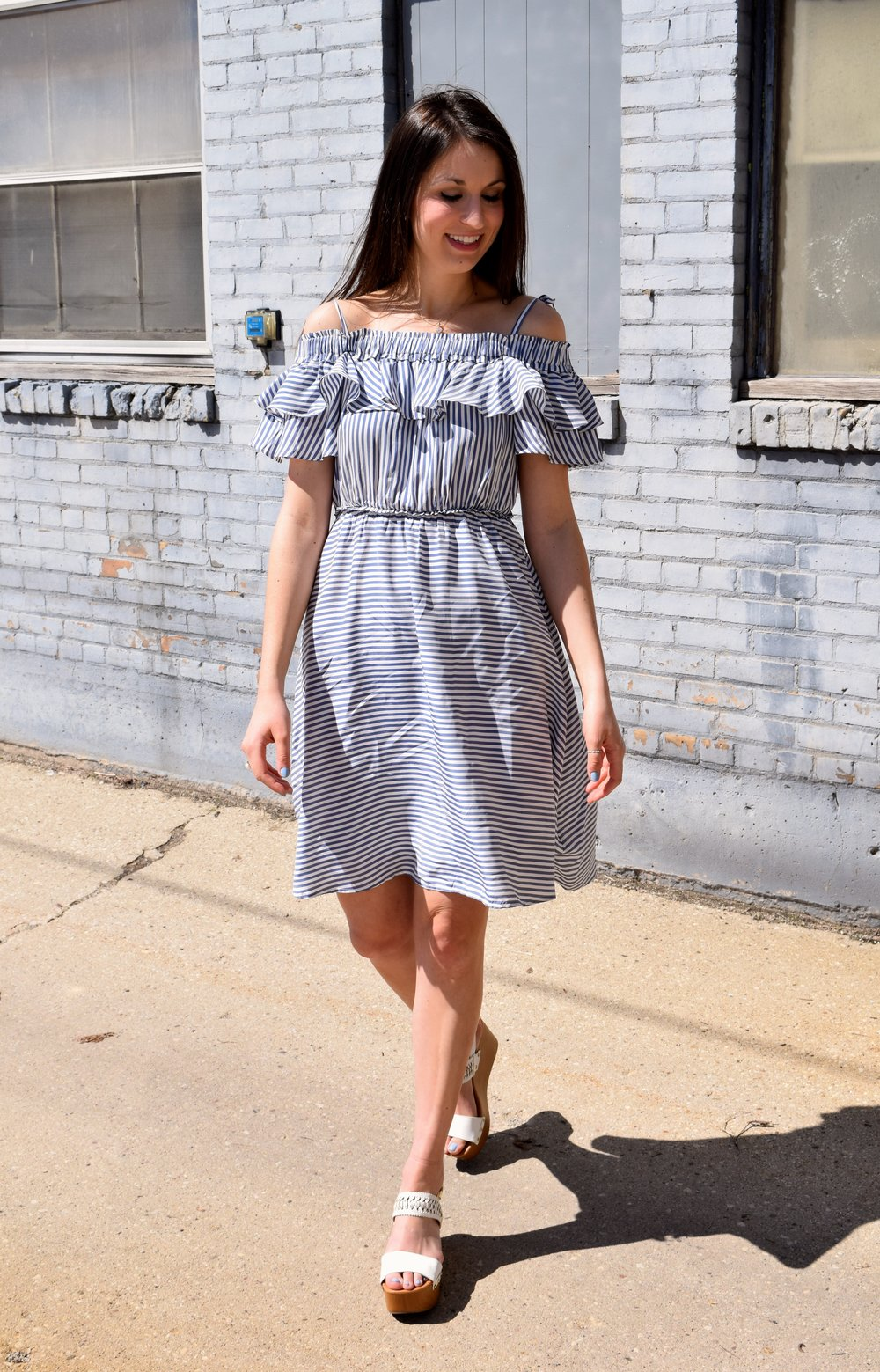 Loft Stripe Ruffle Dress