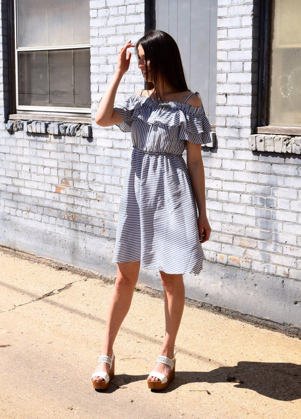 Loft Stripe Ruffle Dresses