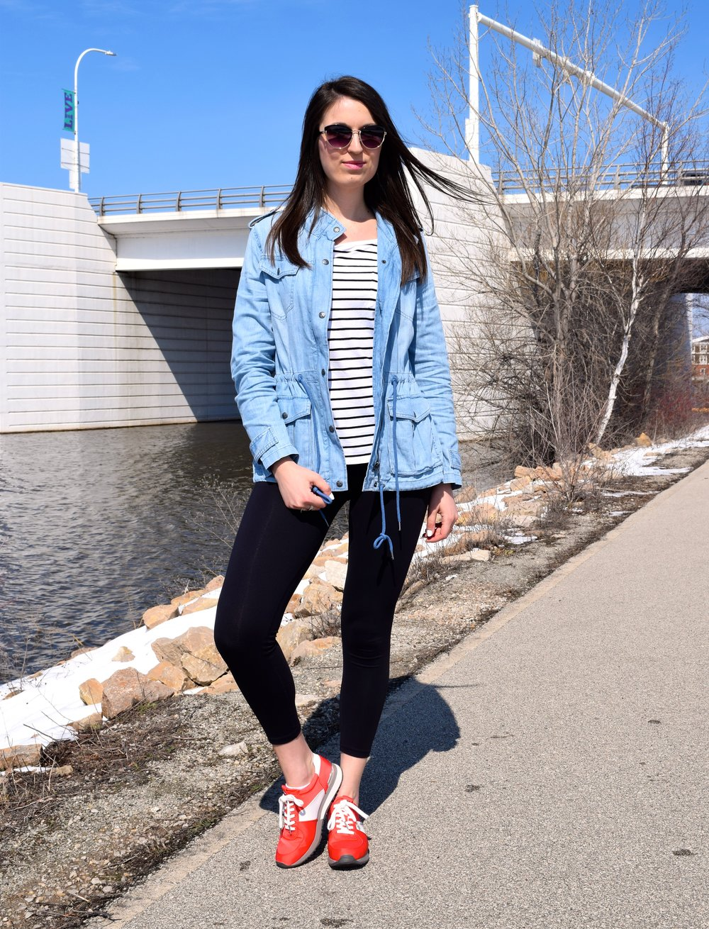 Denim Jacket//Stripes//Trainers