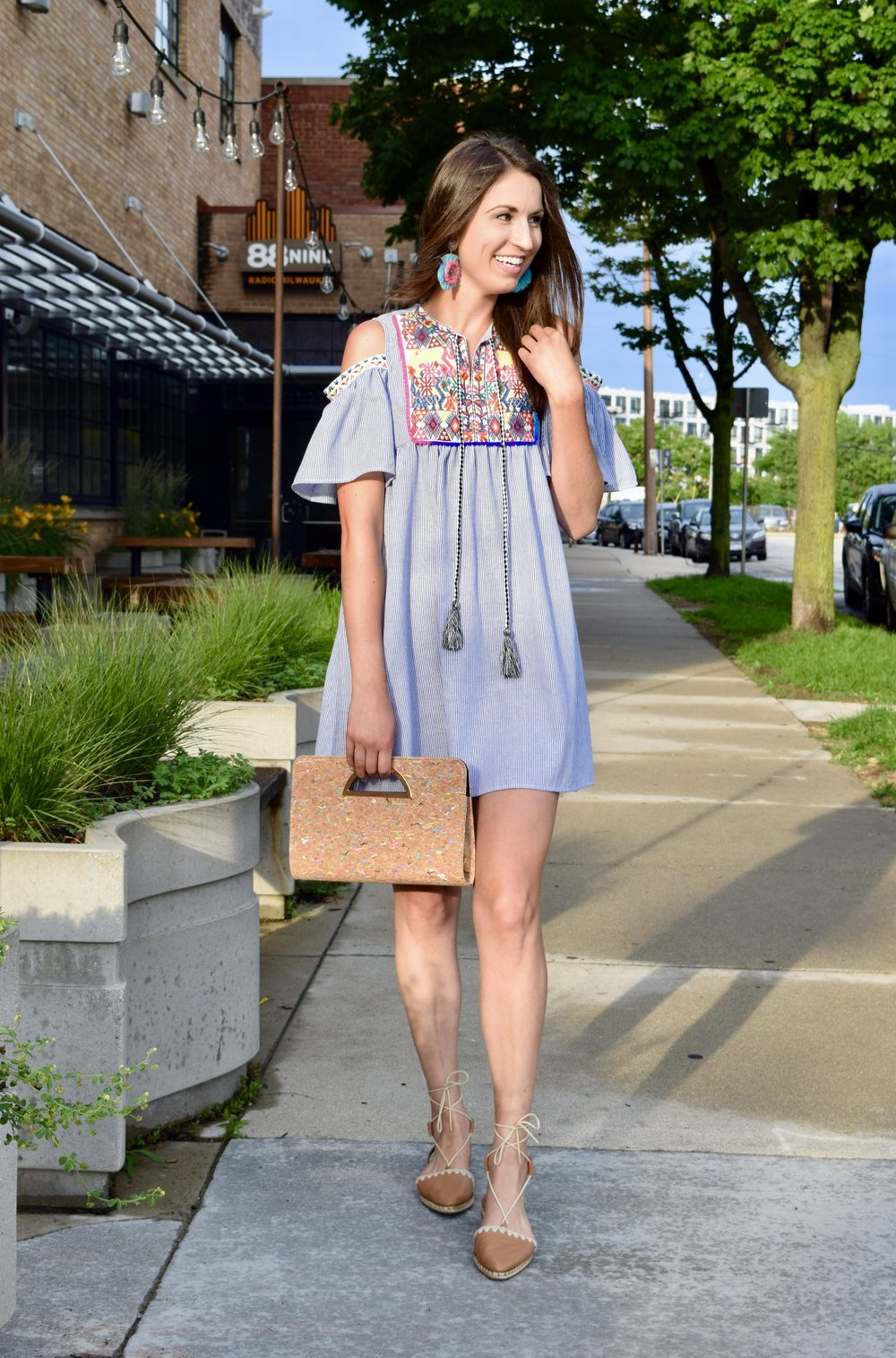 Embroidered Tassel Dress