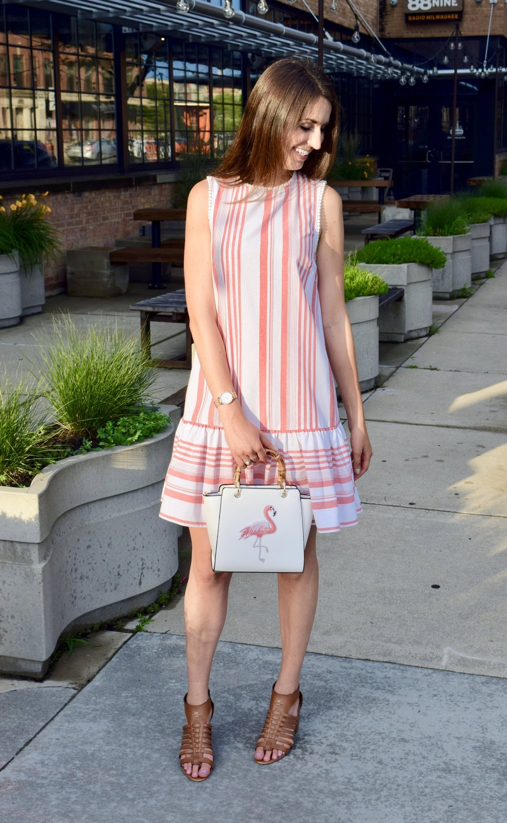 Red Striped Flounce Dress