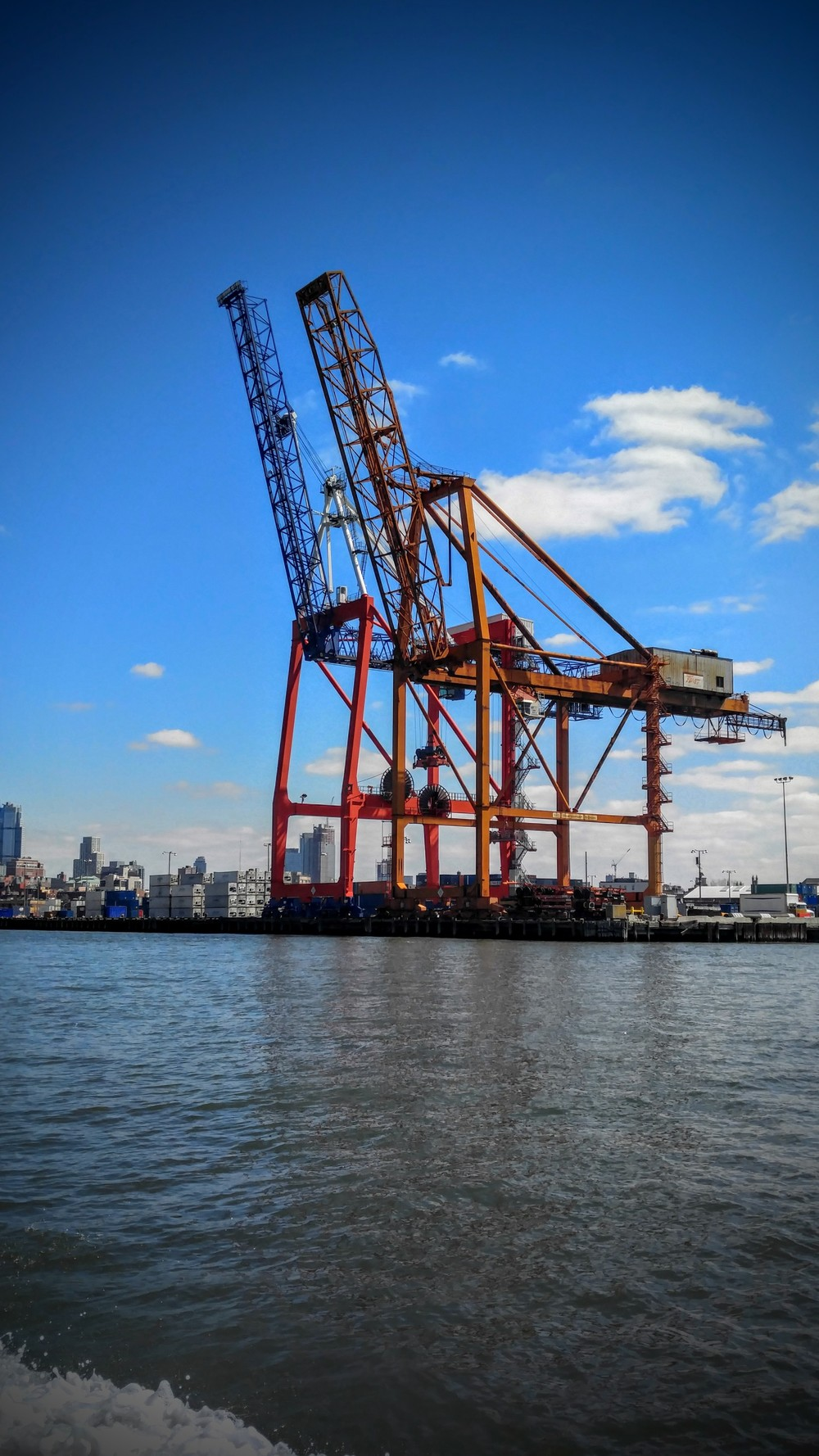 The cranes along the Brooklyn shoreline got me thinking about lessons on the labor unions of the early 20th century,  non-fiction texts on globalization, and how to build a functioning crane out of Popsicle sticks and other cheap materials.