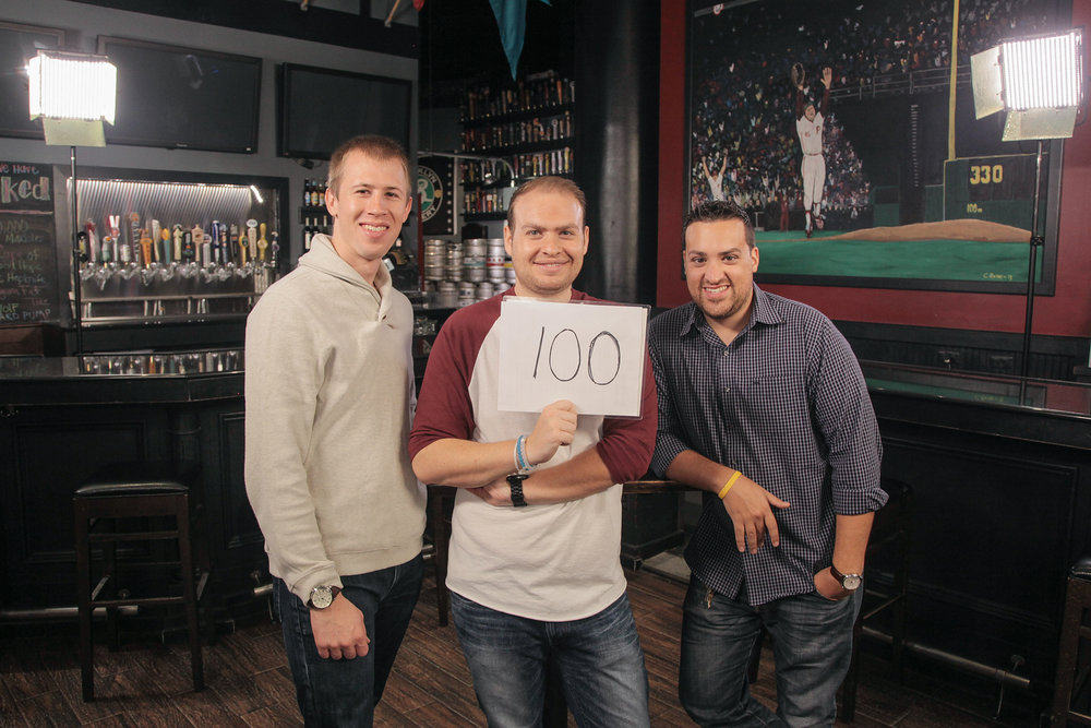 Though we own and operate our company with just the two of us, we rely heavily on support from talented freelancers, interns and advisors who help us achieve our company's goals. This photo is our team celebrating the production of our 100th episode of regional television in 2015.