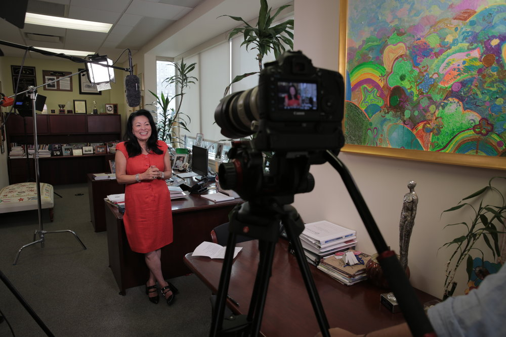 Dr. Gloria Bonilla-Santiago preps for our interview at the LEAP Academy in Camden, NJ.