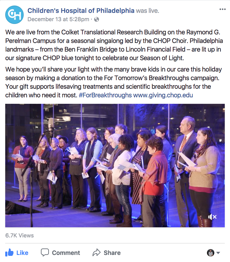 "The ""Season of Light"" event was an online hit for the Children's Hospital of Philadelphia."