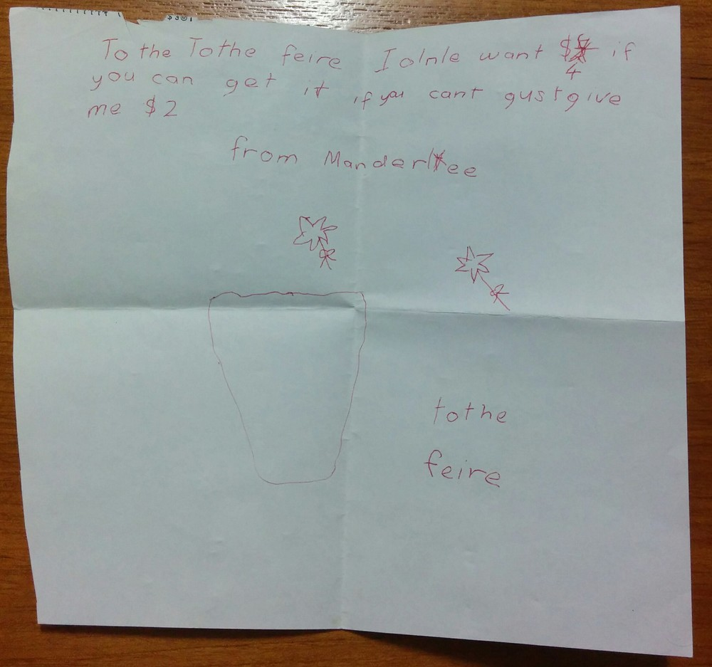Manderlee's letter to the Tooth Fairy