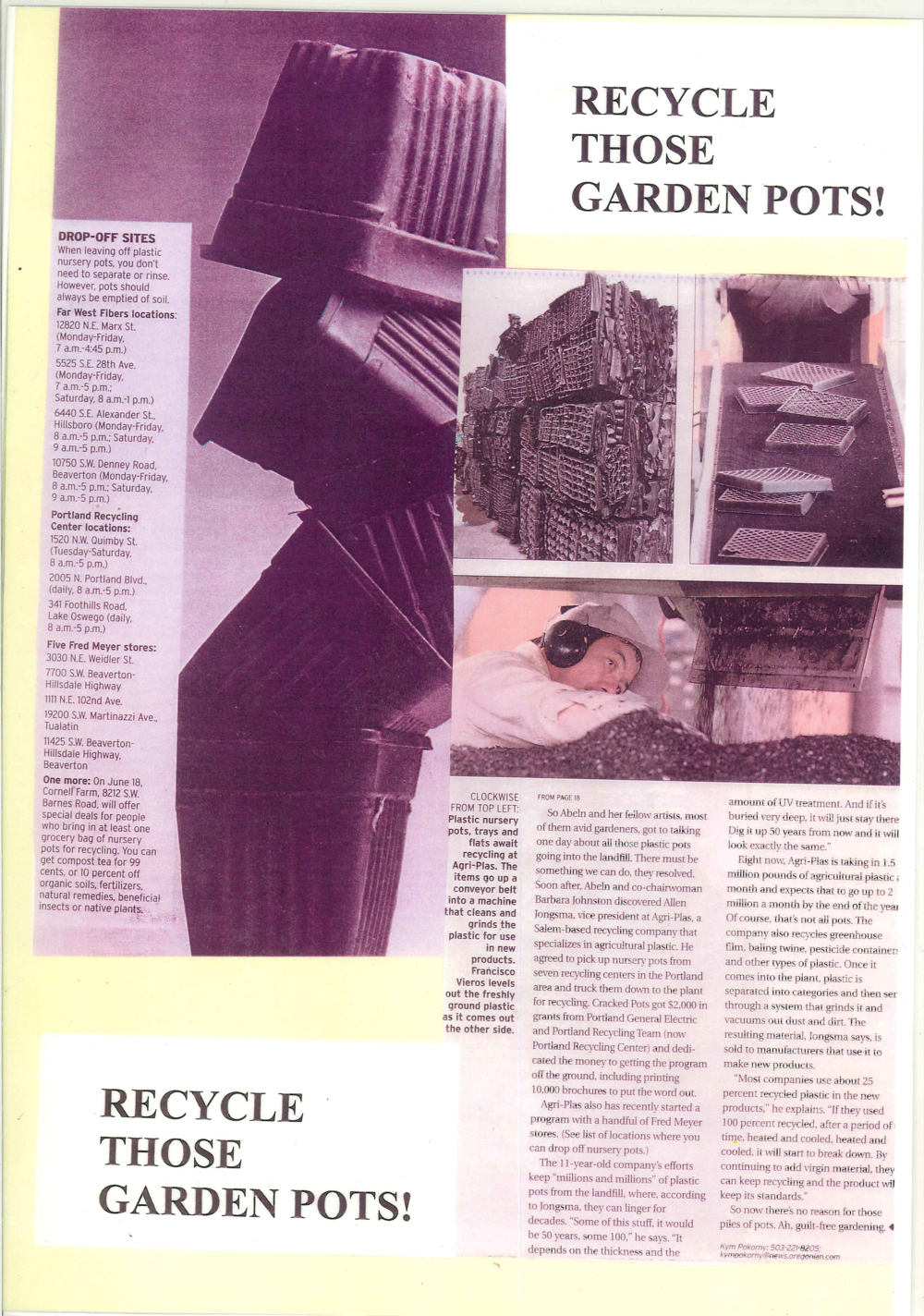 2005 Oregonian Article Part 2 - Recycle Those Garden Pots!