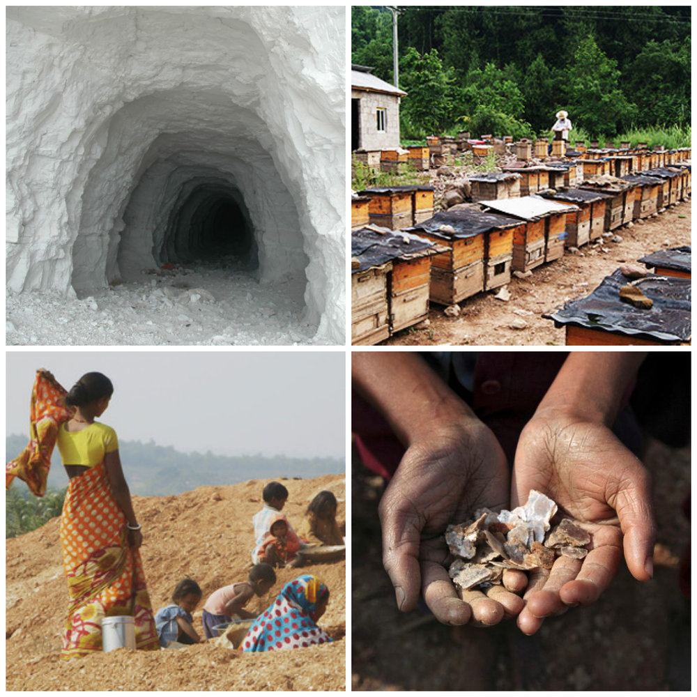 Images sourced online.Clockwise from top left: talc mining, beehives in Ethiopia, mica mining in India, mica.