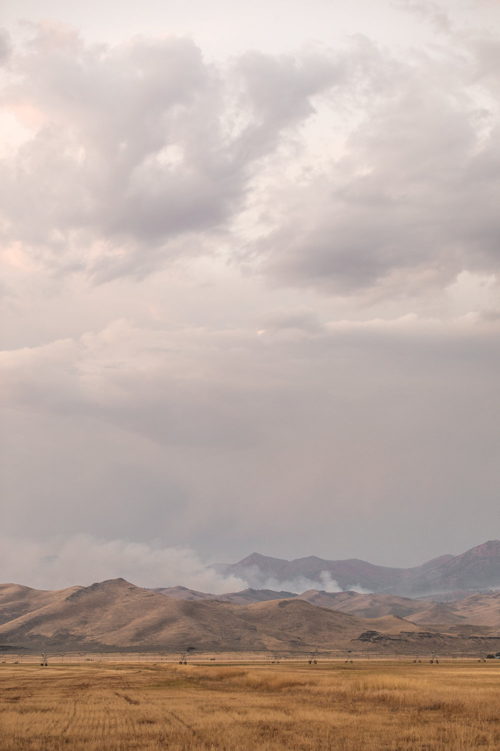 Smoke from the Stewart Creek Fire, which burned over 5,000 acres in Camas County.