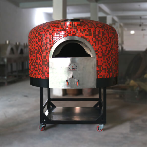 Semi-mobile wood fired oven with gas burner system. The oven has a red and black mosaic tile finishing.