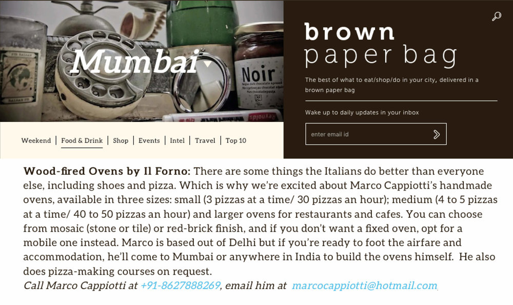 A snap shot of the review Il Forno by Marco got form Brown paper Bag.