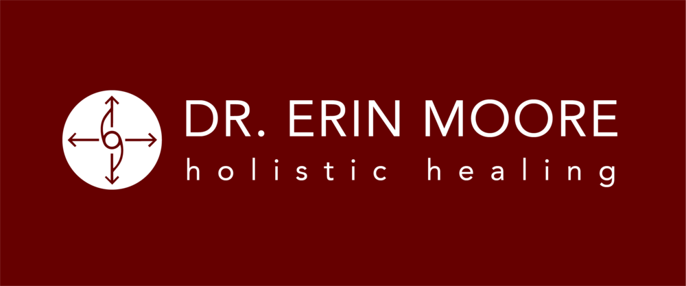 Dr erin moore brand board logotype on red background.png