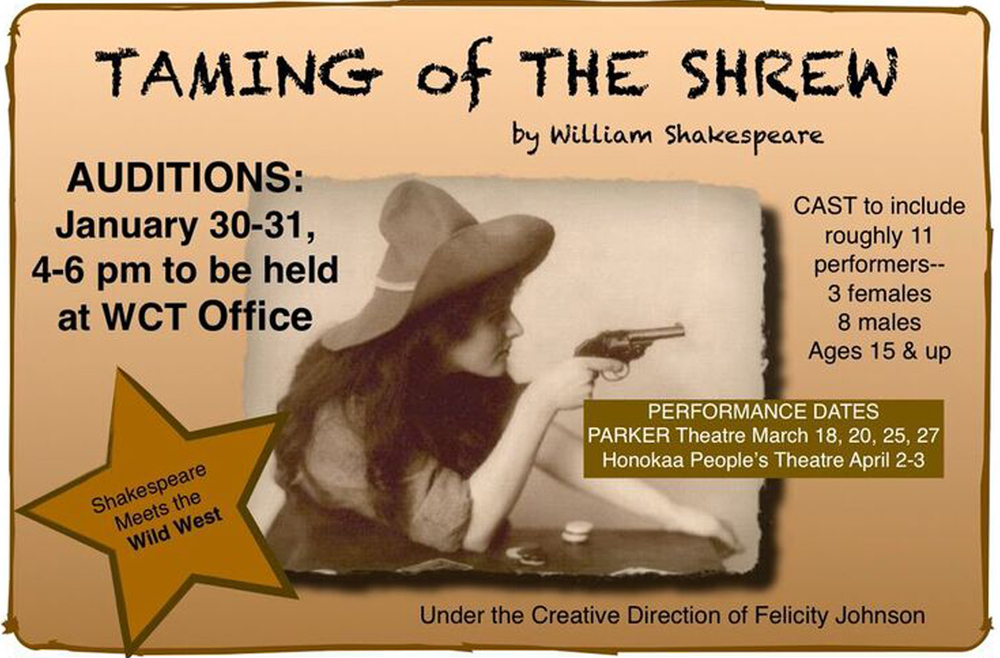 TAMING OF THE SHREW will be performed at the historic PARKER SCHOOL THEATRE on March 18 (Friday) and 20 (Sunday) and again on March 25 & 27 (Friday & Sunday)
