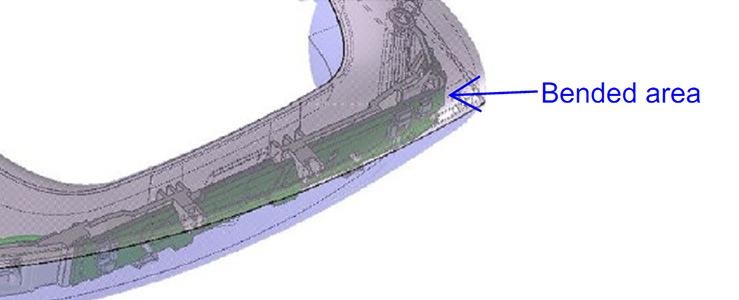 Bild       SEQ Figure \* ARABIC     1    : Biegbare Leiterplatte im KFZ-Türgriff