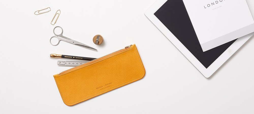 BRIGGS + SHEARS yellow pencil case & stationary
