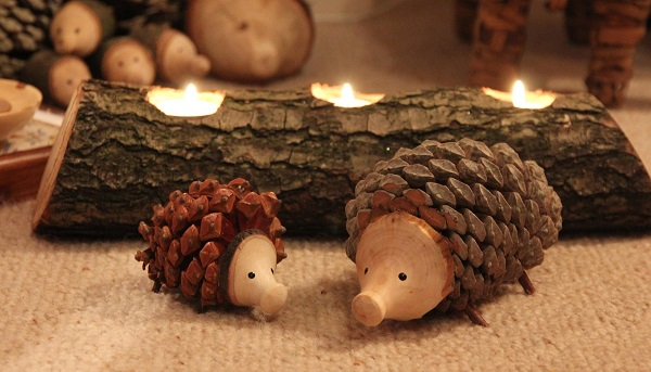 Porcu-Pinecones? Hedgehogs actually.. but does Christmas get any cuter? From Wood by NTP available at Holmbridge Chsristmas Market