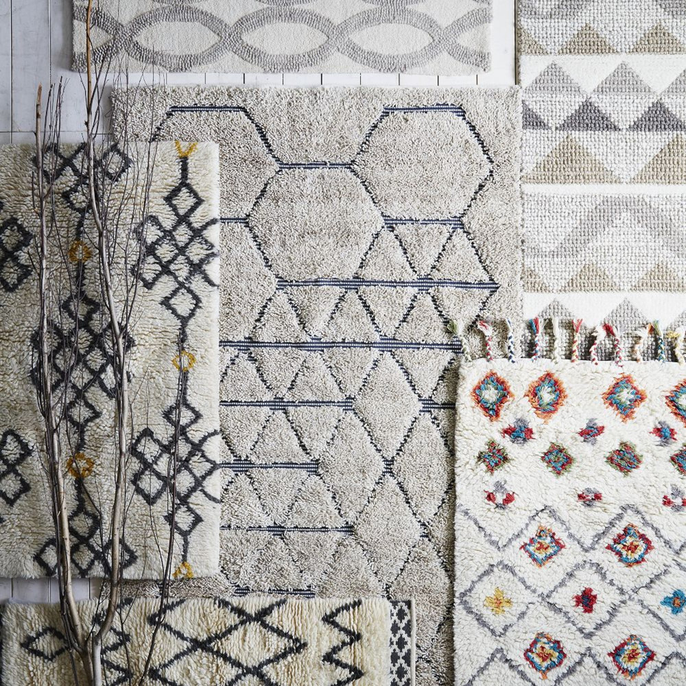 Selection of morrocan inspired rugs.  www.westelm.co.uk