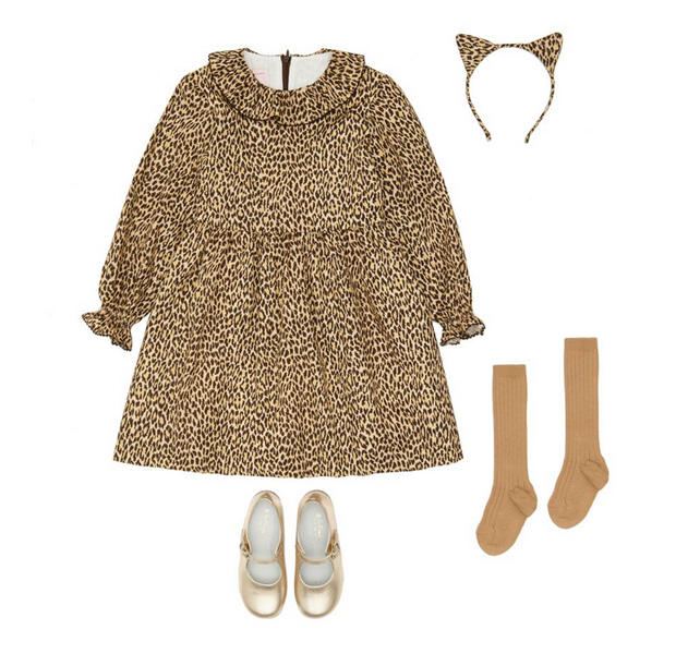 MIHURA' DRESS IN 'WILD CARD,' £79 | EAR CAT HEADBAND, £18 | GOLD MARY-JANES, £44, LA COQUETA | CAMEL KNEE HIGH SOCKS, £6, LA COQUETA