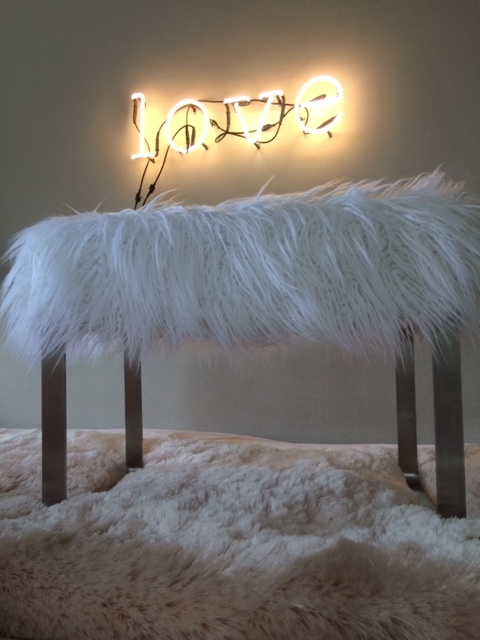 White faux fur vanity stool £250 By Justine Emmett on www.etsy.com