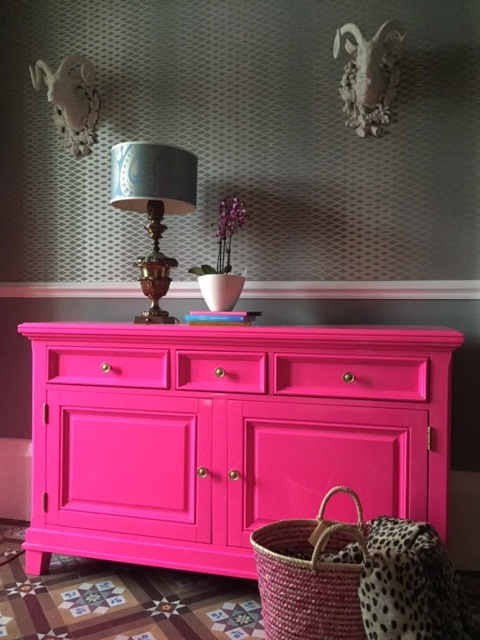 Neon pink sideboard, designed by ME!