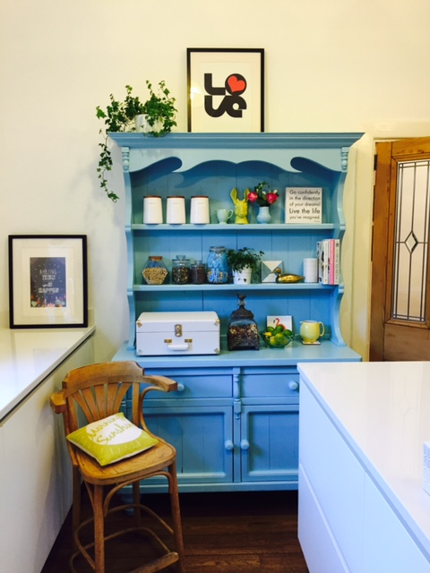 My bright blue painted dresser