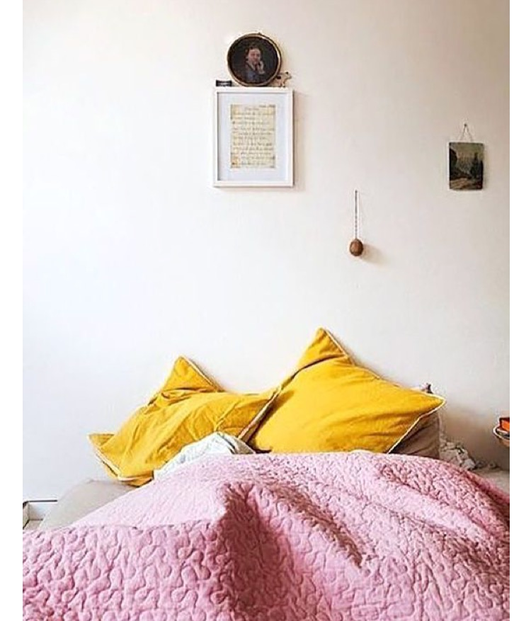 Gorgeous pink and yellow bedding goals from Design Love Fest on Pinterest