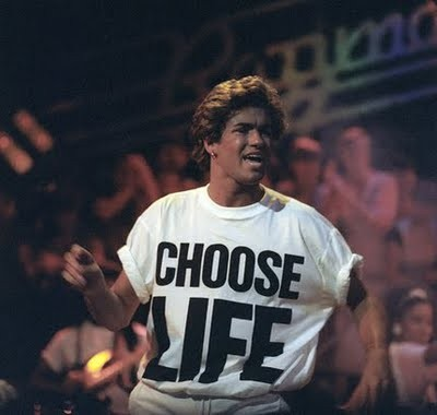 George Michael in his original Katherine Hamnett slogan T-shirt