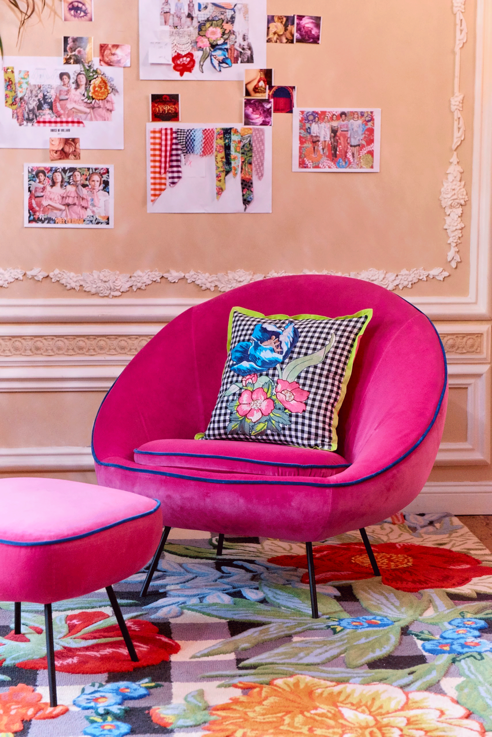 Henry Has Waved His Happy Wand Over Habitatu0027s Misty Armchair And It Is Now  Available In Limited Edition Hot Pink Velvet With Contrast Navy Blue Piping.