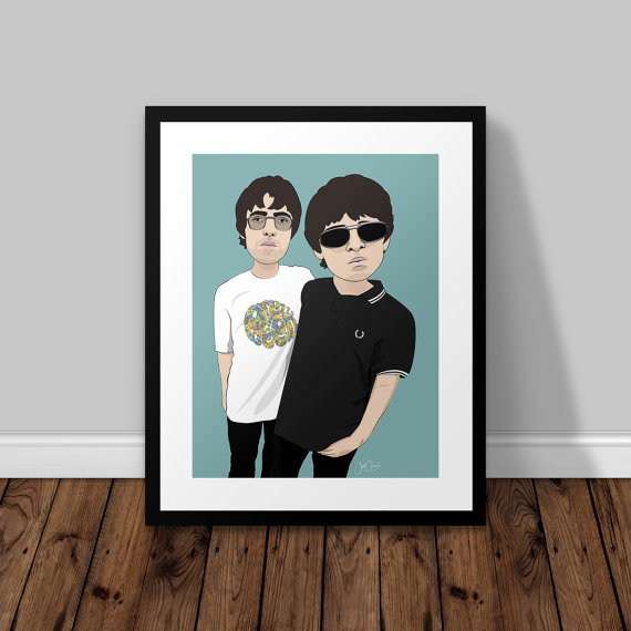 Liam and Noel print £6 + shipping Joe Oliver design on Etsy